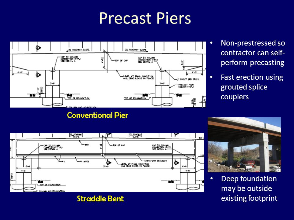 Precast Piers Non-prestressed so contractor can self- perform precasting. Fast erection using grouted splice couplers.