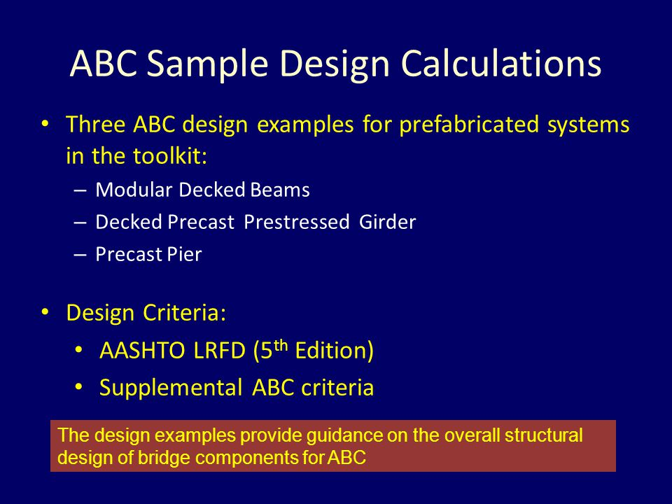 ABC Sample Design Calculations