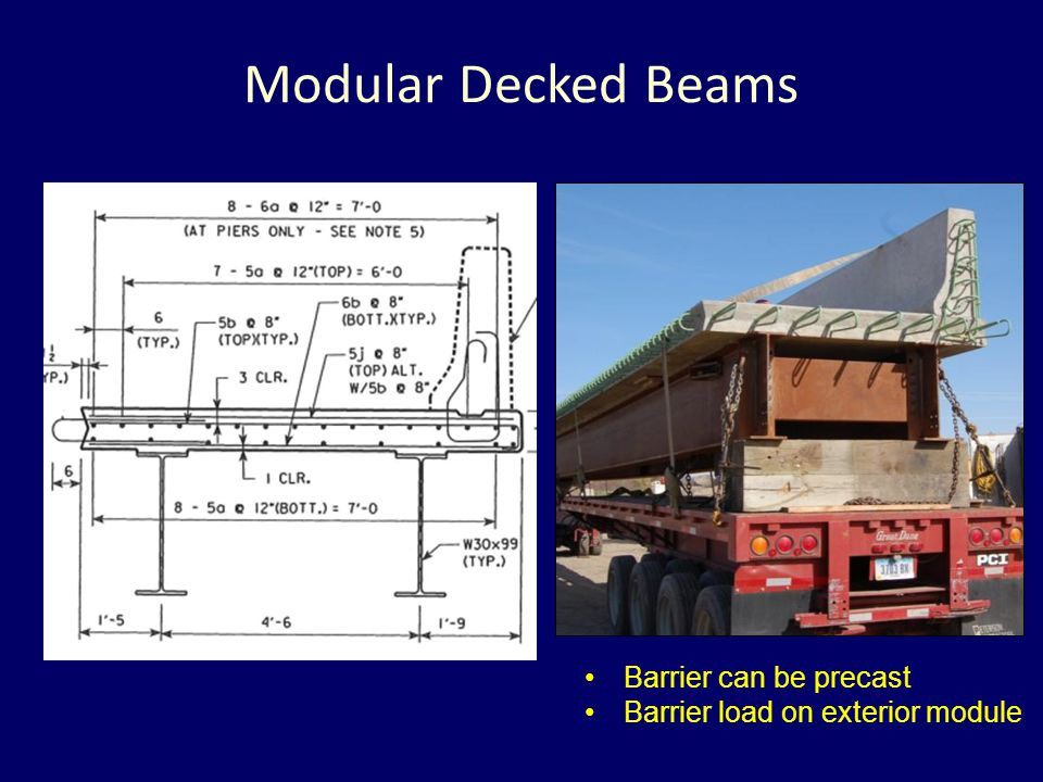 Modular Decked Beams Barrier can be precast