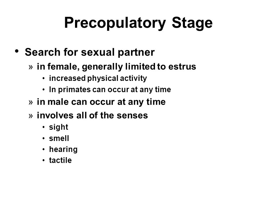 Precopulatory Stage Search for sexual partner