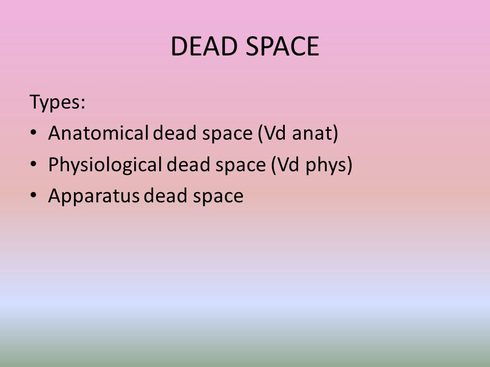 DEAD SPACE Types: Anatomical dead space (Vd anat)