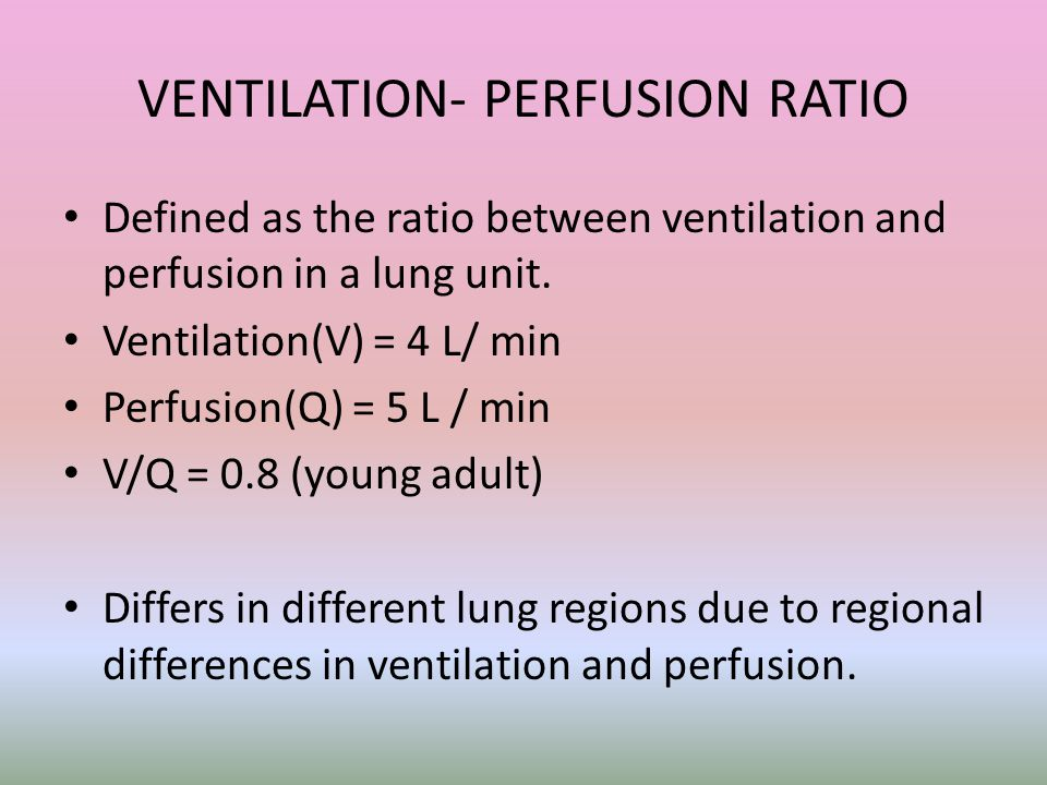 VENTILATION- PERFUSION RATIO