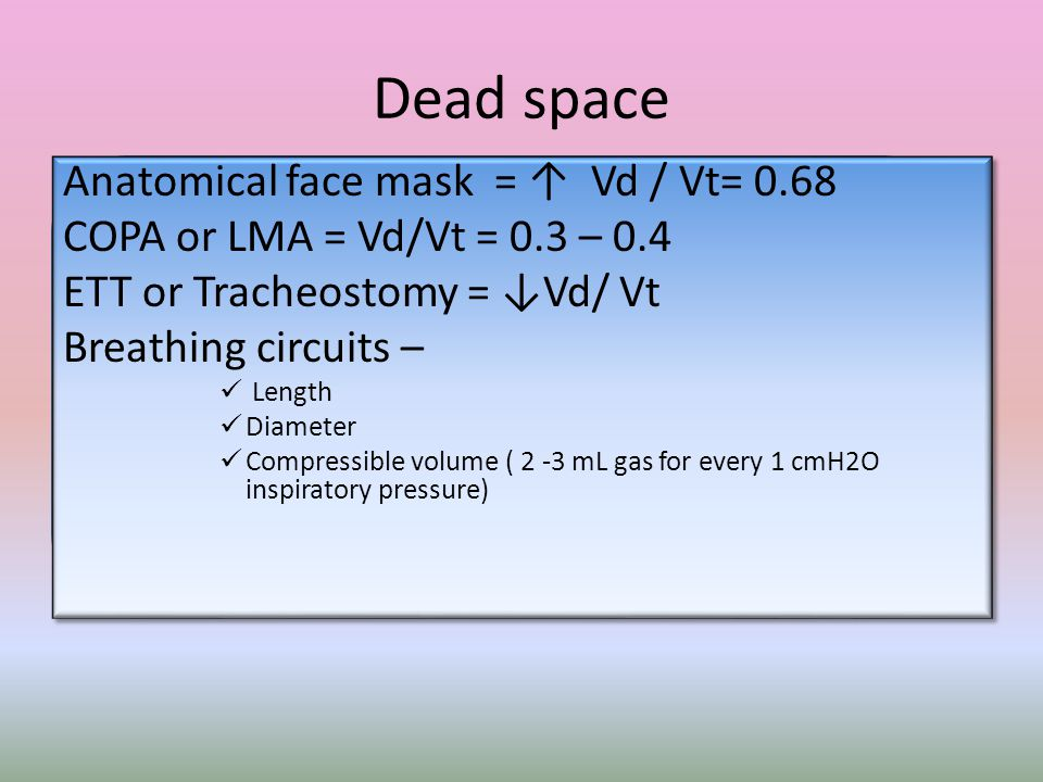 Dead space Anatomical face mask = ↑ Vd / Vt= 0.68