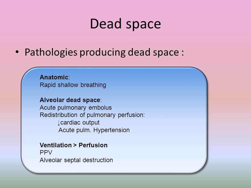 Dead space Pathologies producing dead space : Anatomic: