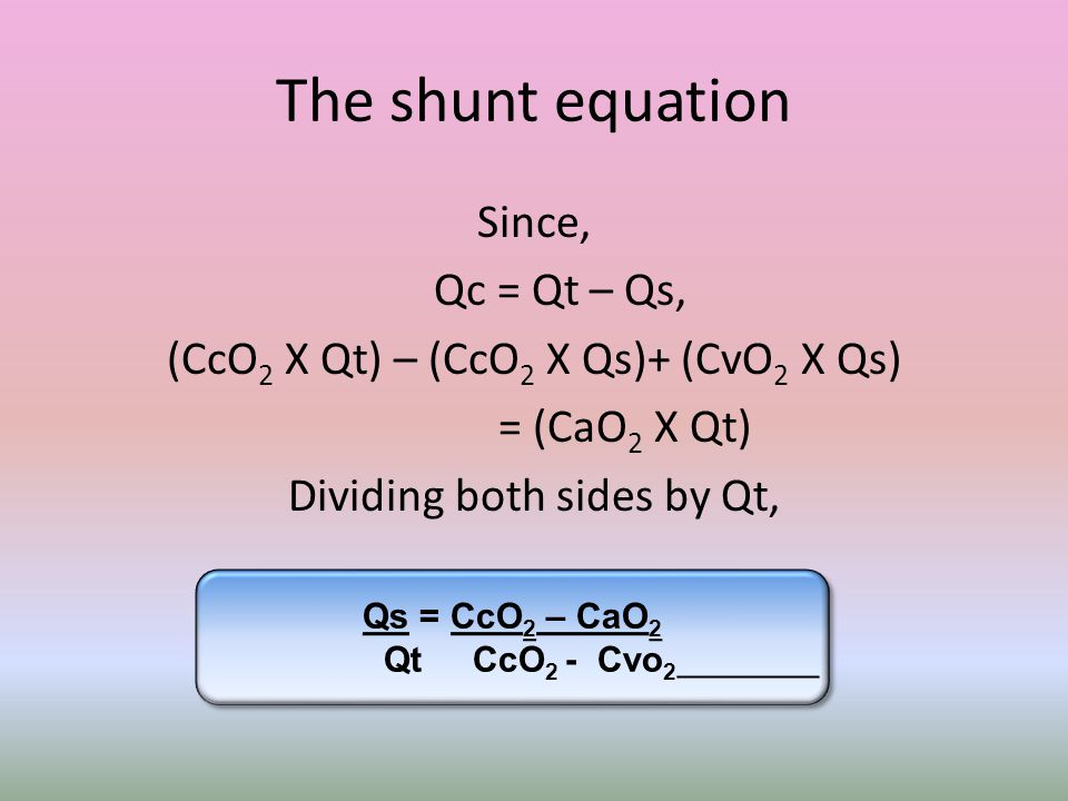 The shunt equation Since, Qc = Qt – Qs,