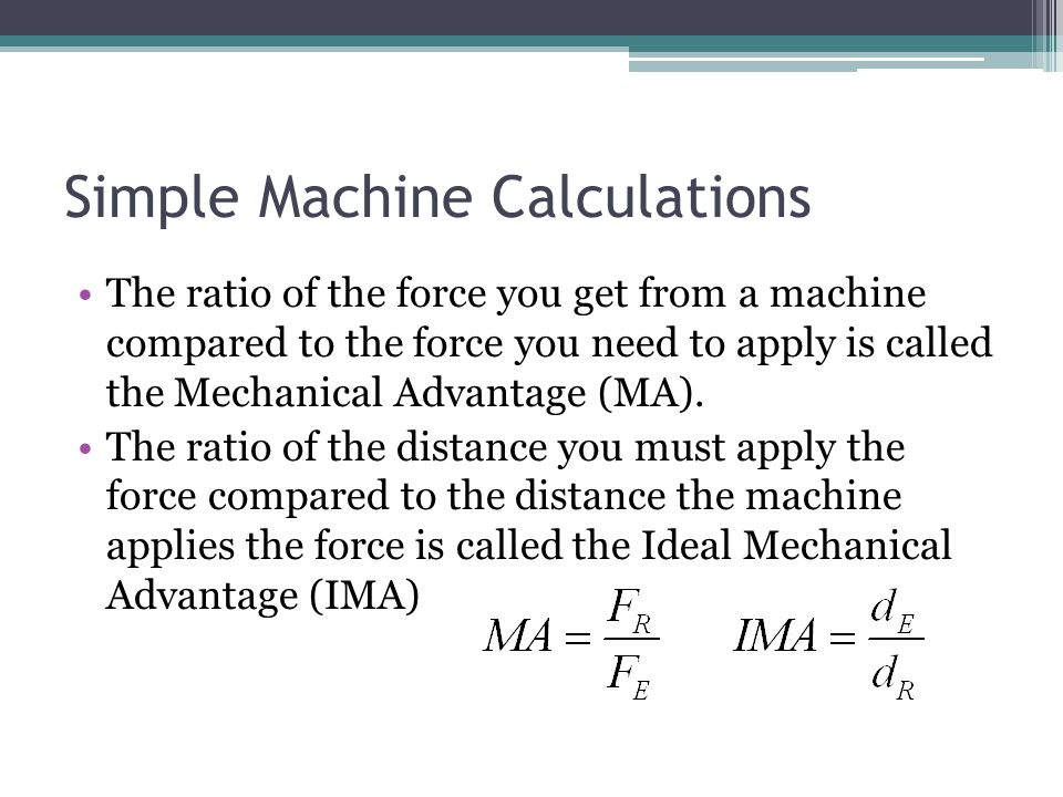 Simple Machine Calculations