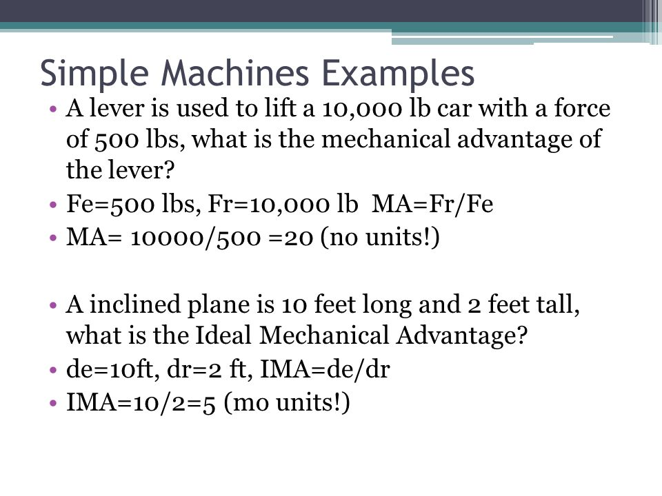 Simple Machines Examples