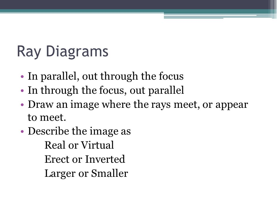 Ray Diagrams In parallel, out through the focus