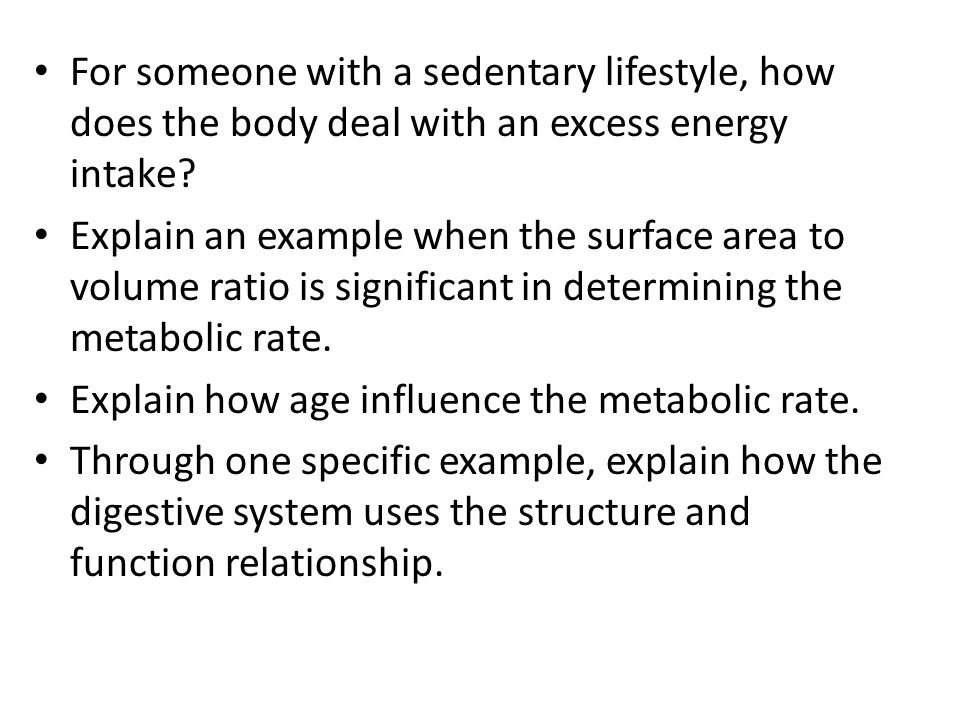 For someone with a sedentary lifestyle, how does the body deal with an excess energy intake