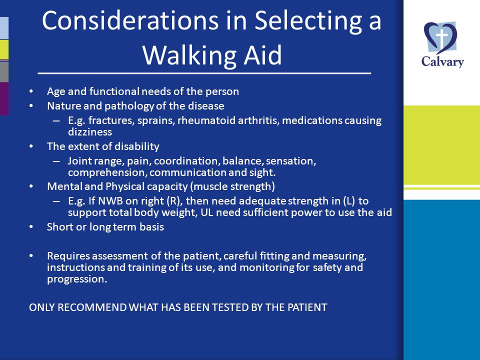 Considerations in Selecting a Walking Aid