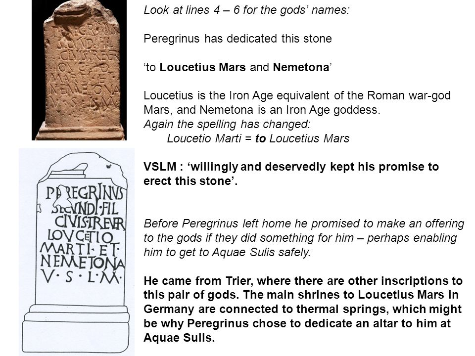 Look at lines 4 – 6 for the gods' names: