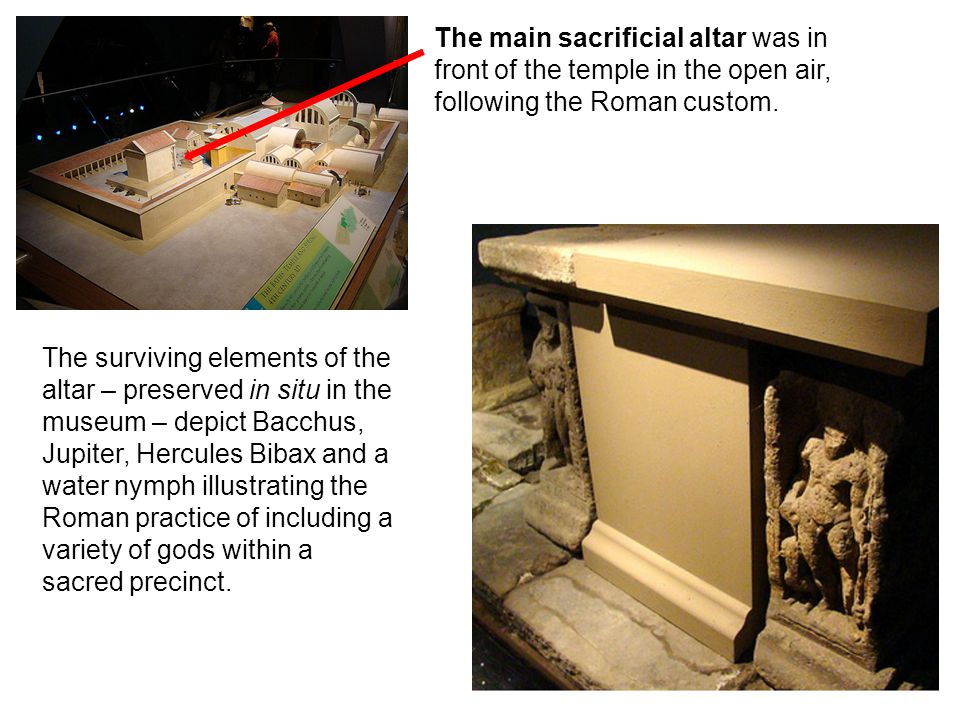The main sacrificial altar was in front of the temple in the open air,