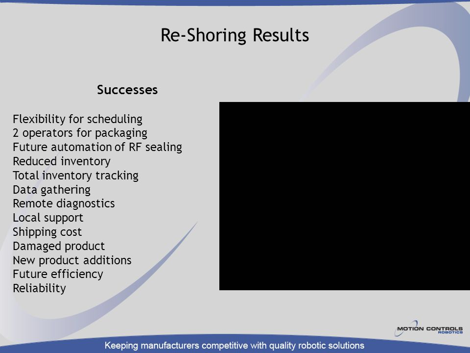 Re-Shoring Results Successes Flexibility for scheduling
