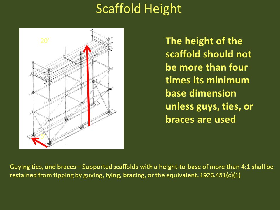 Scaffold Height The height of the scaffold should not be more than four times its minimum base dimension unless guys, ties, or braces are used.
