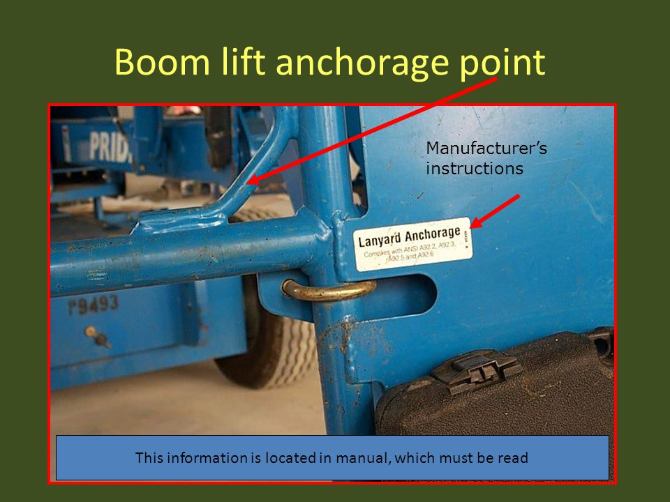 Boom lift anchorage point