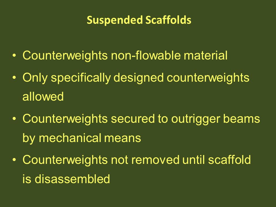 Counterweights non-flowable material