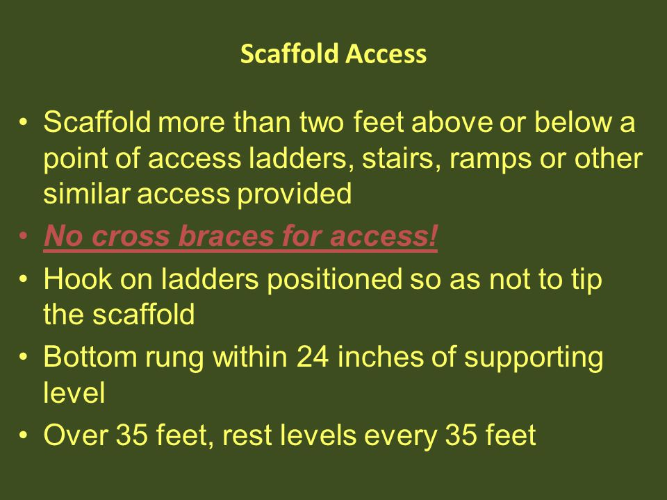 No cross braces for access!