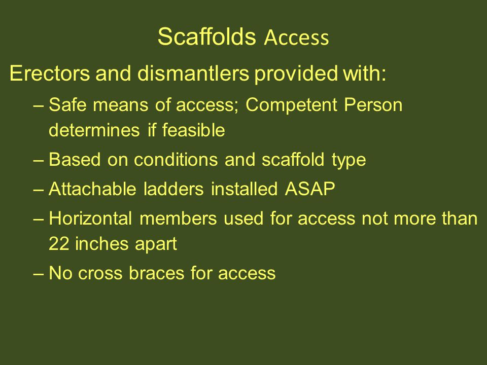 Scaffolds Access Erectors and dismantlers provided with: