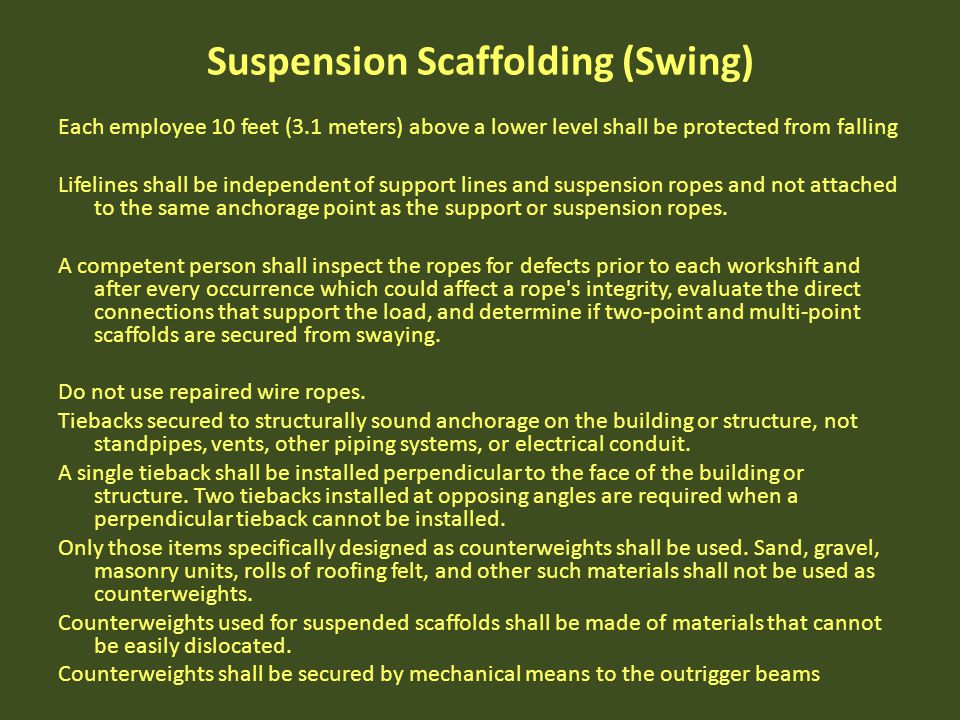 Suspension Scaffolding (Swing)