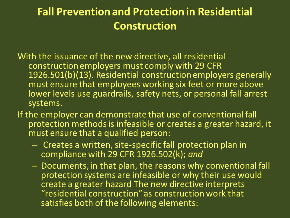 Fall Prevention and Protection in Residential Construction