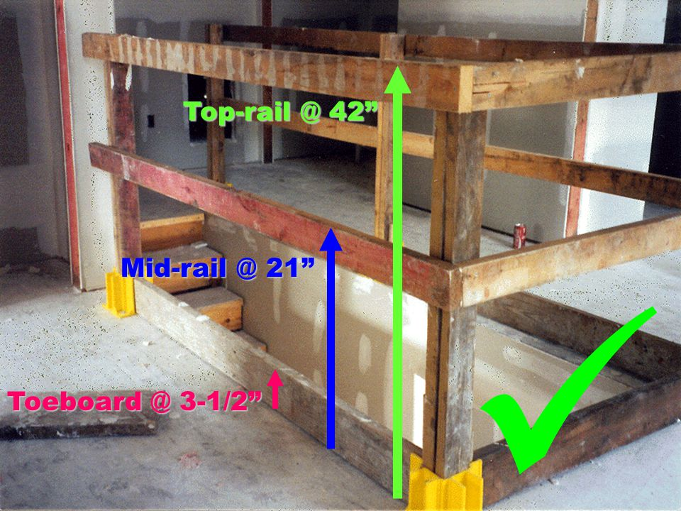Top-rail @ 42 Mid-rail @ 21 Toeboard @ 3-1/2