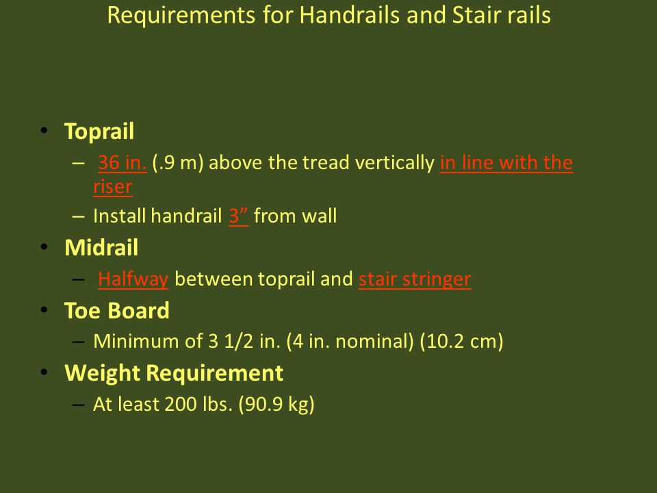 Requirements for Handrails and Stair rails
