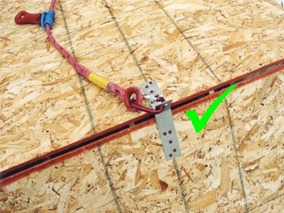 A roof bracket is installed according to manufacture's specifications providing adequate anchorage point for fall protection.