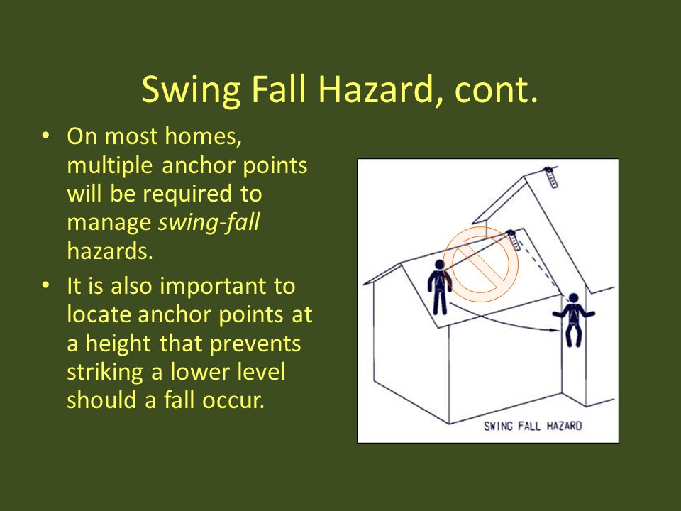 Swing Fall Hazard, cont. On most homes, multiple anchor points will be required to manage swing-fall hazards.
