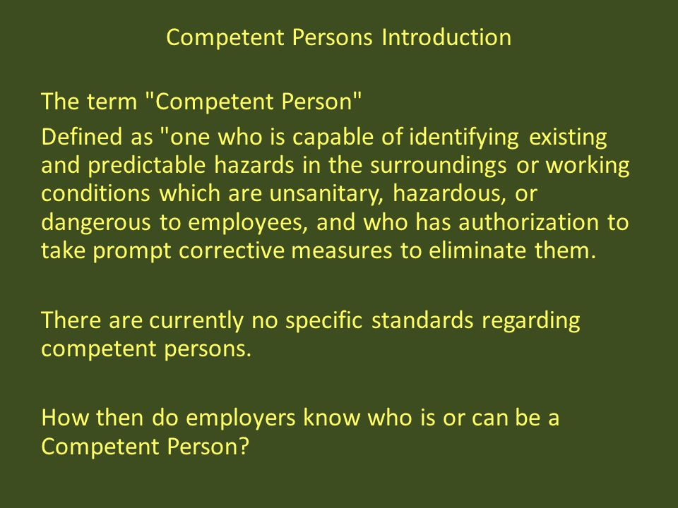 Competent Persons Introduction