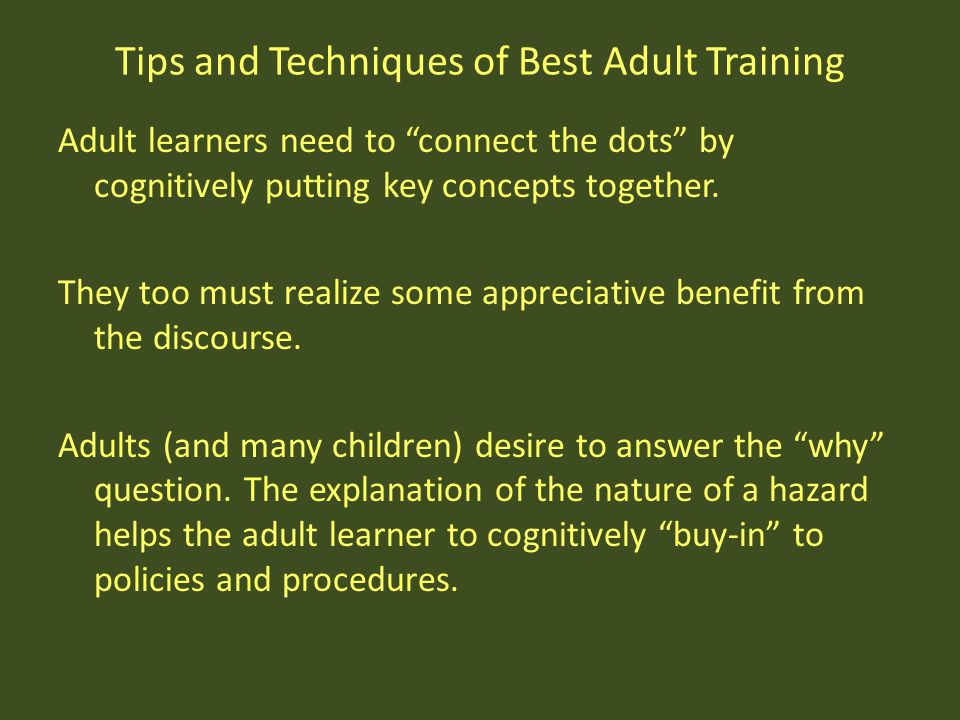 Tips and Techniques of Best Adult Training