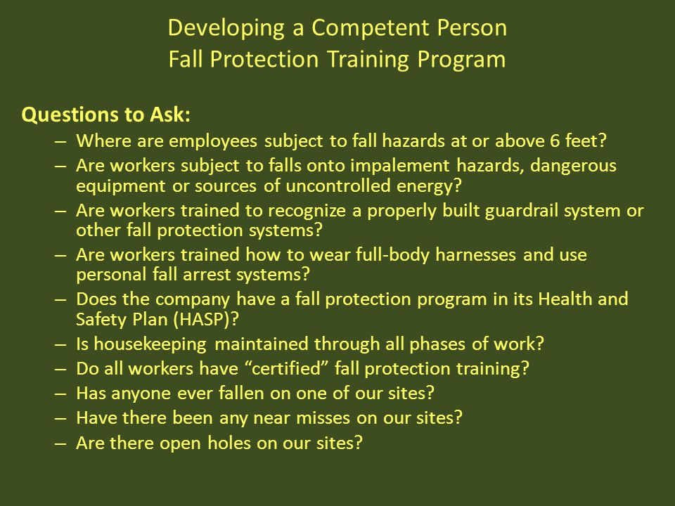 Developing a Competent Person Fall Protection Training Program