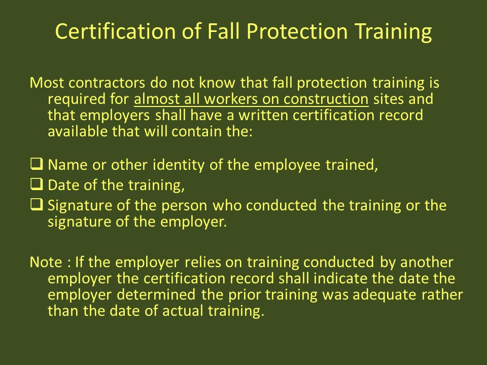 Certification of Fall Protection Training