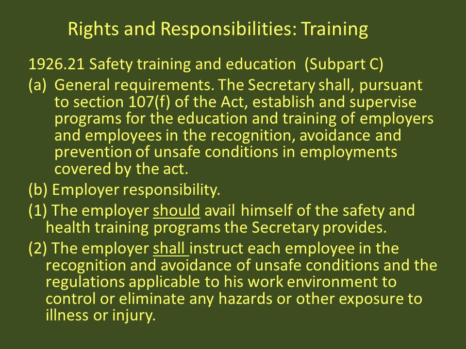 Rights and Responsibilities: Training