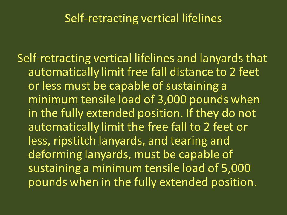 Self-retracting vertical lifelines