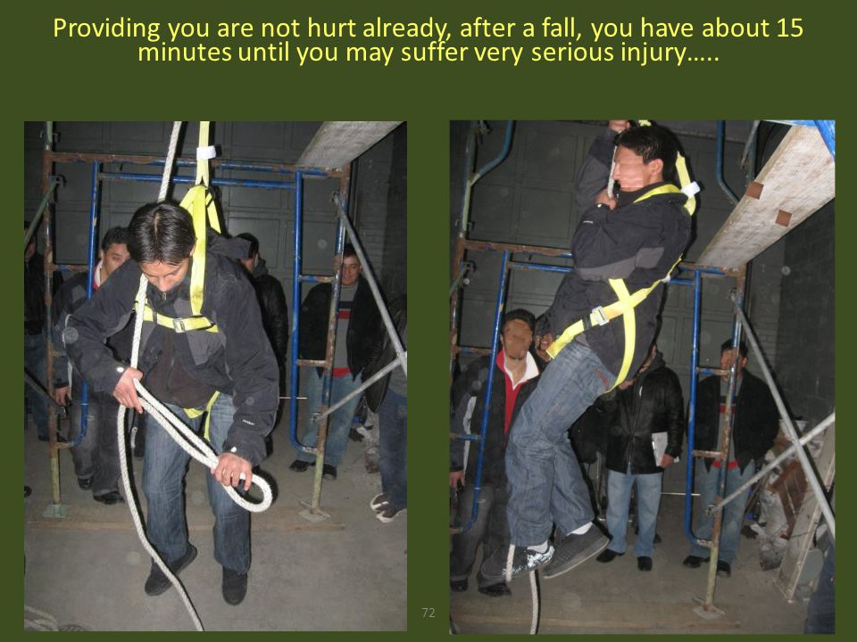Providing you are not hurt already, after a fall, you have about 15 minutes until you may suffer very serious injury…..