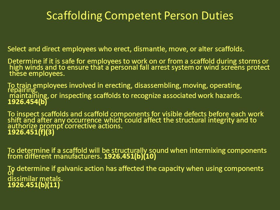 Scaffolding Competent Person Duties