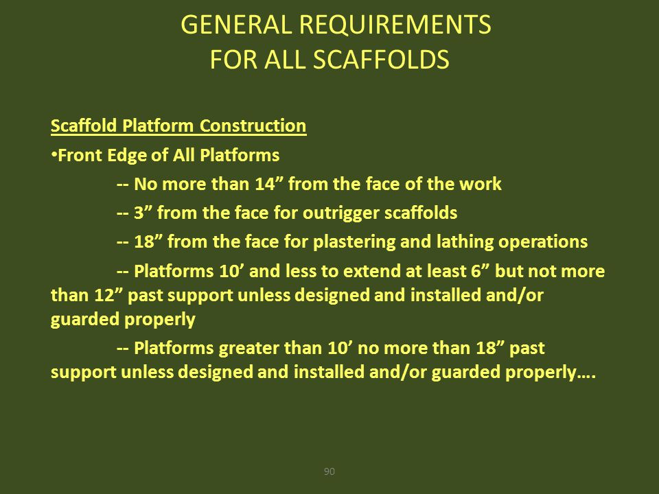 GENERAL REQUIREMENTS FOR ALL SCAFFOLDS