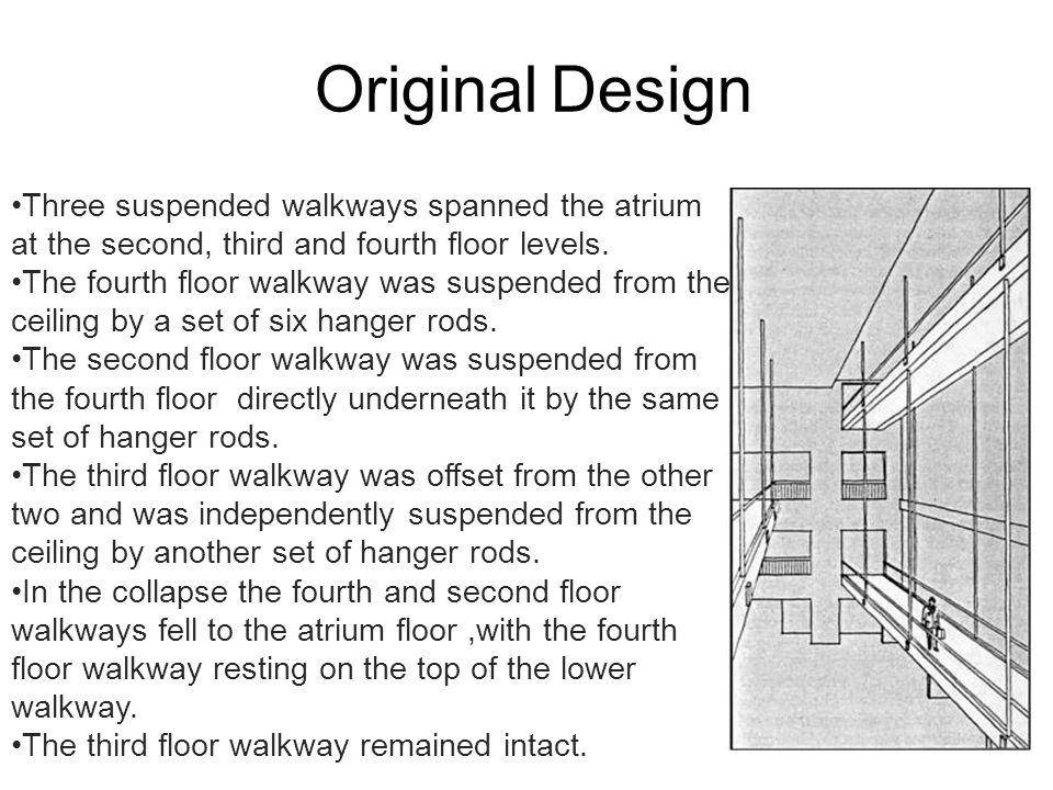 Original Design Three suspended walkways spanned the atrium at the second, third and fourth floor levels.
