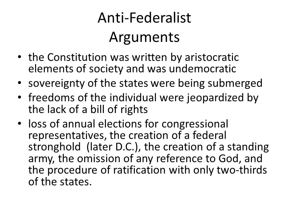 Anti-Federalist Arguments