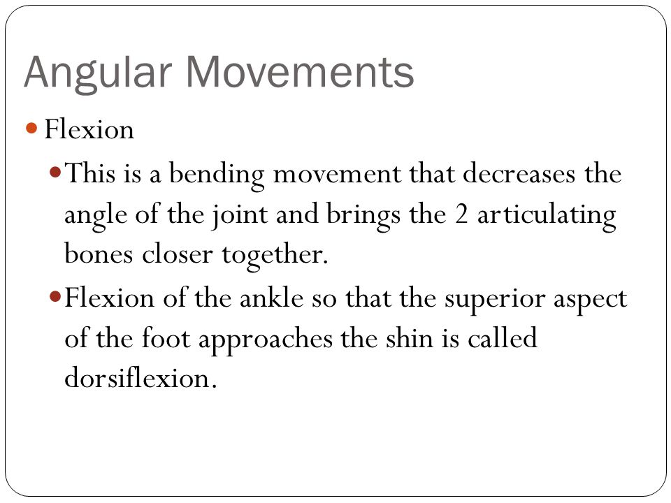 Angular Movements Flexion