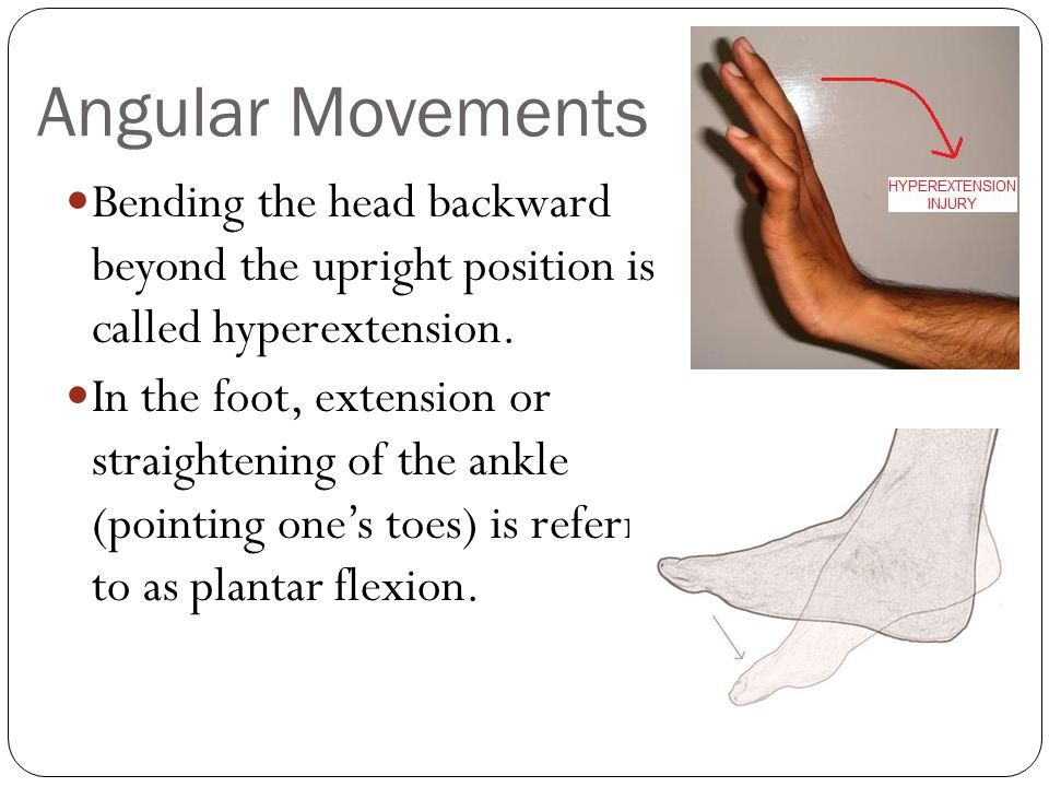 Angular Movements Bending the head backward beyond the upright position is called hyperextension.