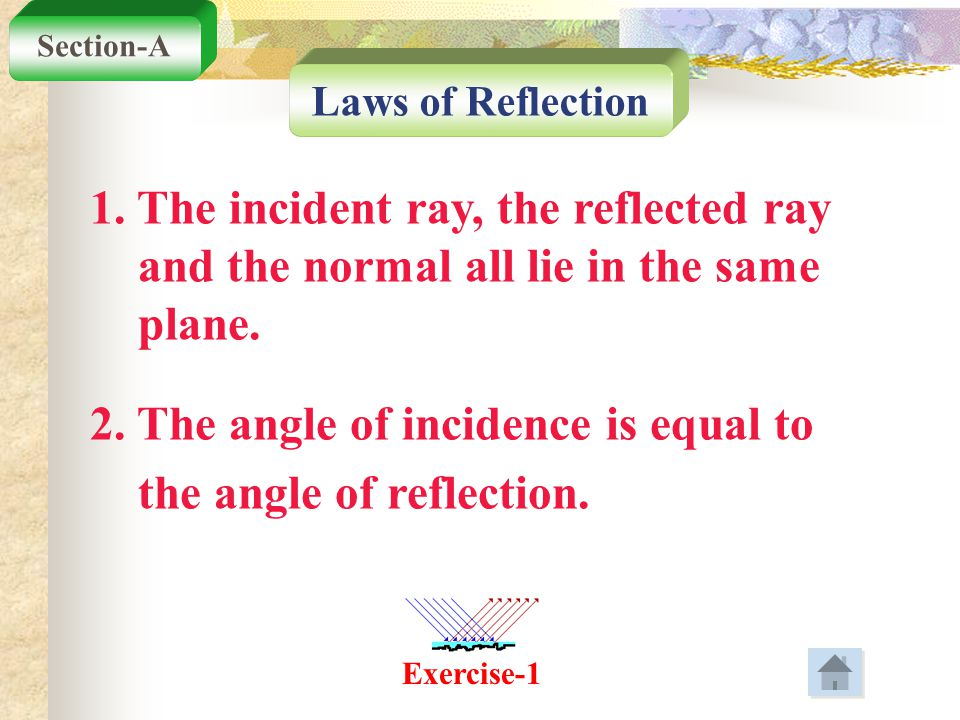 2. The angle of incidence is equal to the angle of reflection.