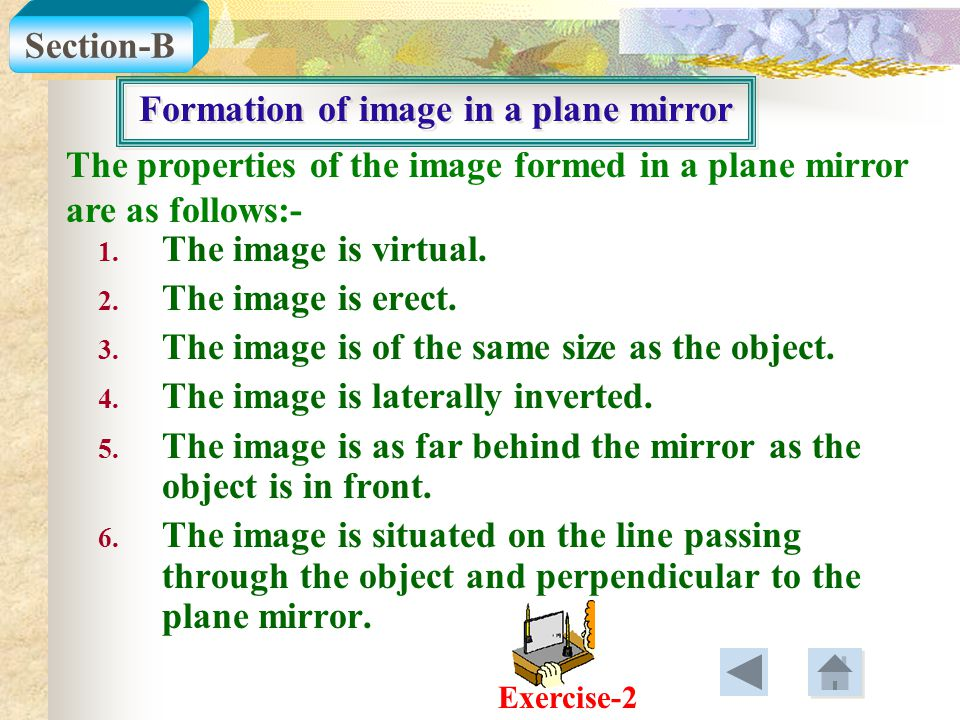 Formation of image in a plane mirror