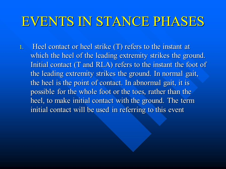 EVENTS IN STANCE PHASES