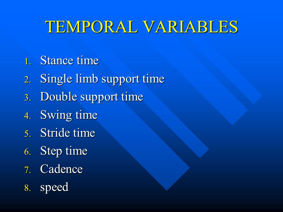 TEMPORAL VARIABLES Stance time Single limb support time