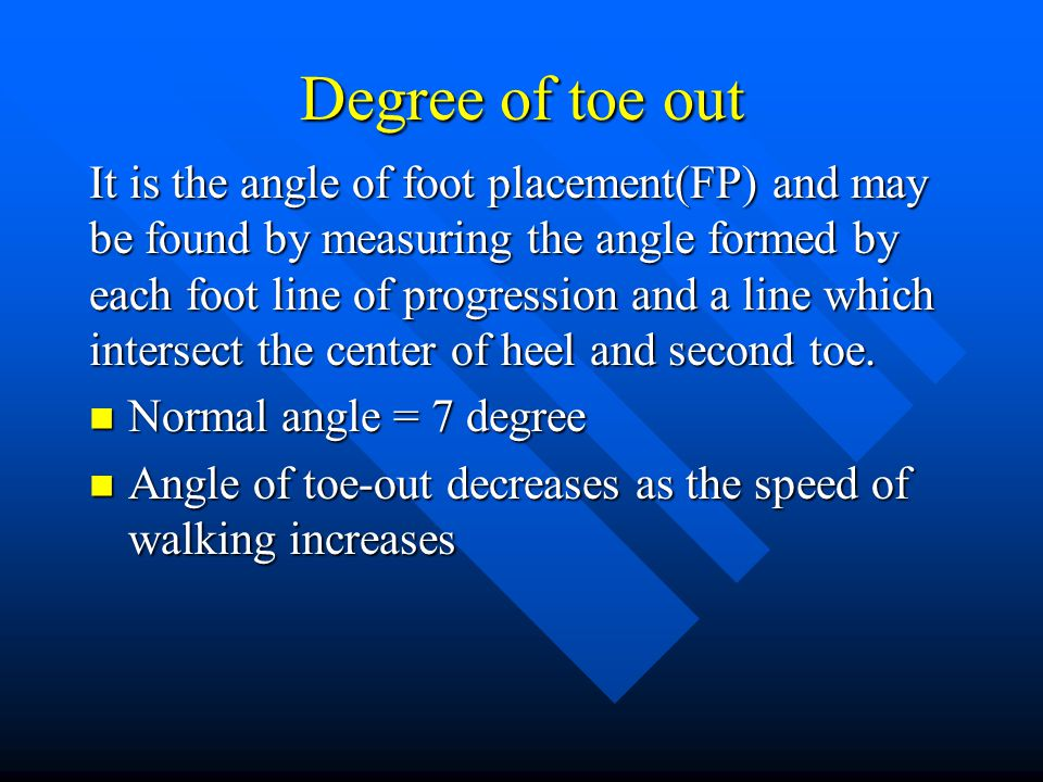 Degree of toe out