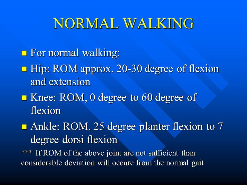 NORMAL WALKING For normal walking: