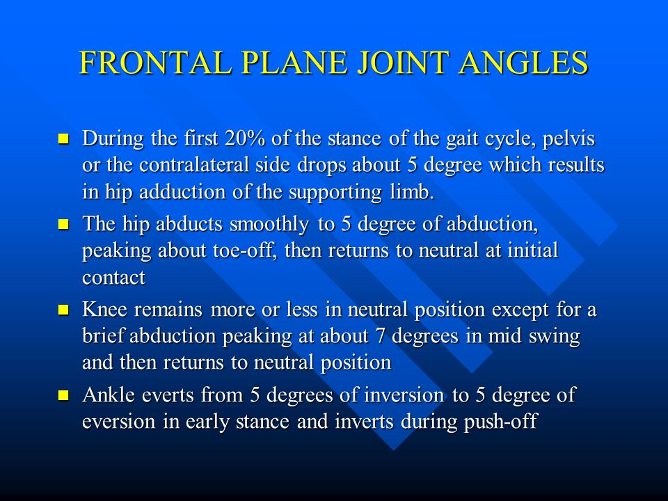 FRONTAL PLANE JOINT ANGLES