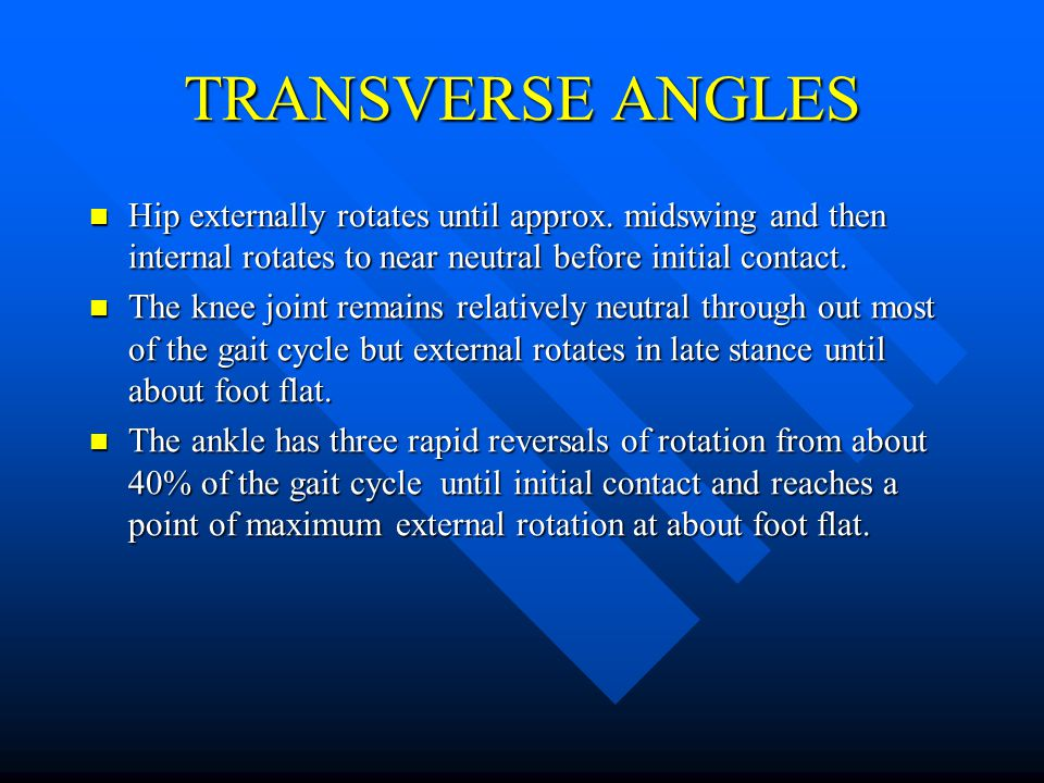 TRANSVERSE ANGLES Hip externally rotates until approx. midswing and then internal rotates to near neutral before initial contact.