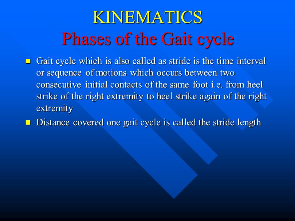 KINEMATICS Phases of the Gait cycle